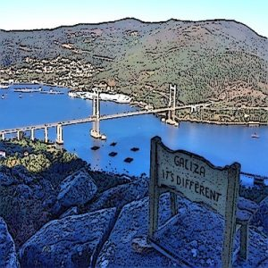 """Banco de """"Galicia, it's different"""" na ría de Vigo coa Ponte de Rande de fondo"""